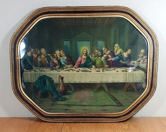 "18"" VINTAGE LAST SUPPER Framed Art Print Mid Century Religious Art Classic Print 1930s - 1940s Wall Decor"