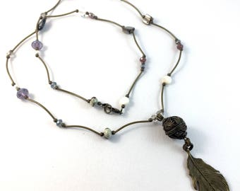 Bronze feather pendant on long bronze necklace with pearls and crystals