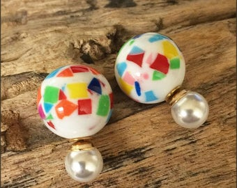Beautiful and classy white double pearls earrings with multicolor strokes (French style tribal chic studs)