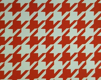 """14""""x12"""" Fashion Print Crimson and White Houndstooth Heat Transfer Vinyl with Mask"""