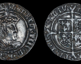 Henry VIII Antique Coin, Silver Groat 1526 - 1544, Old, English, British, Tudor