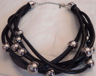 MIKA Multi Strand Faux Leather Necklace with Silver Ball Accents of various sizes