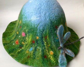 """Sauna hat for woman Felted Merino wool felted """"Meadow & Dragonfly"""""""