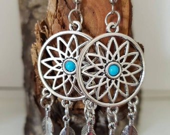 Dreamcatcher drop earrings - silver with turquoise coloured detail