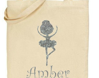 Personalised Natural Canvas Tote Carrier,Ballet Bag,Girls Bag, Gift for Her,Sparkly Silver Glitter ballerina,Silhouette Ballerina,Dancer