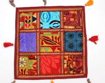 Handmade Hippie Gypsy Home Decor Ethnic Multi color Embroidered Hippy Patchwork Bohemian Pillow Shams Couch Cushion Cover Case G821