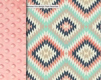 Minky blanket, Aztec mint pink blanket, baby Adult blanket, throw blanket, tribal southwest blanket, baby shower gift, birth gift