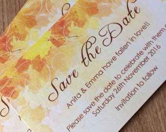 Fall wedding save the date cards- beautiful Autumn leaves in russet, orange and yellow.