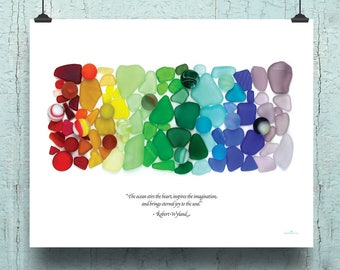 "Sea Glass Sea Marbles Rainbow Poster, 16x20"", ""The ocean stirs the heart, inspires the imagination and brings eternal joy to the soul."""