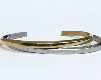 Faith Hope Love Engraved Bracelet