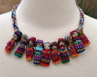 Guatemalan Worry Doll Necklace  Handmade necklace