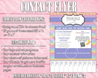 Contact Flyer | Tear-Off Tab | QR Code | Chevron