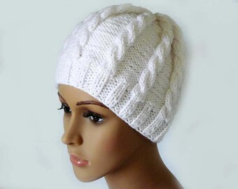 Knitting PATTERN, Knitted Cable Beanie, Womens Braided Knit Hats, Cable Knit Hat, Girls Knit Beanies, Cable White Knit Hats