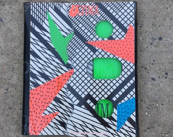 Vintage 1989 80s 90s Ultima Mead Trapper Folder Keeper School Supplies Organizer Retro Funky Neon Abstract Pattern