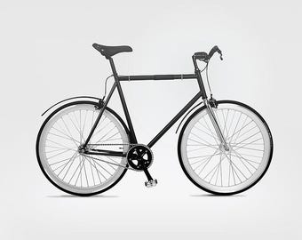 Sale 15% - Fixed Gear Bike, single speed - Night Rider Goldie 2000 - bicycle - wooden fenders, flip-flop
