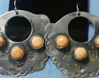 Hoop Southwestern Style Native American style Spiny oyster shell Sterling silver Earrings