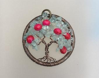 Teal cherry blossom tree pendant