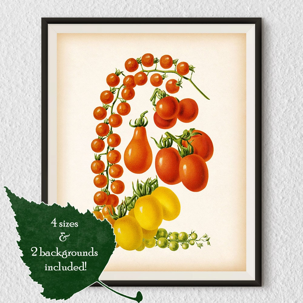 Purple Vegetable Wall Art: Vegetable Print Tomato Print Kitchen Art Print Vegetable