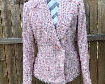 Pink Tweed Blazer, Spring Blazer, New York & Co Pink Blazer, Spring New York and Co Blazer