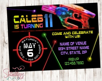 Laser tag invitation - Laser tag birthday invitations for laser tag party - Boy or girl birthday party invitation - neon