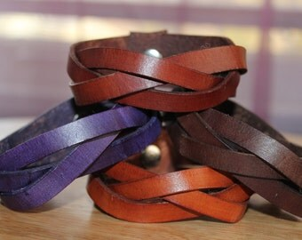 Veg-tanned Leather mystery braid bracelet