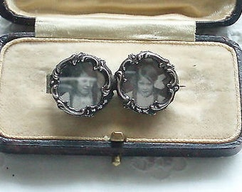 Antique Victorian Art Nouveau Silver Double Photo Brooch