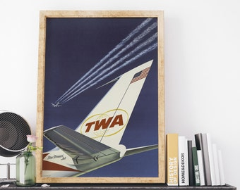 TWA Star Stream Jet Vintage USA Travel Poster Art Print