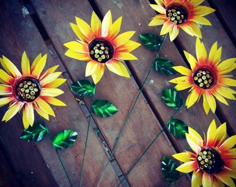 Sunflower Garden Stakes, Metal Flowers, Metal Garden Art