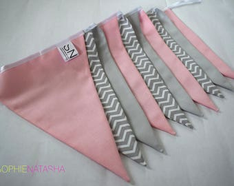 Nursery Bunting Baby Pink and Grey Handmade Fabric Bunting - 10 Flags, 2 M - Baby Pink, Grey and Grey Chevron Fabric