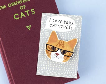 I Love Your Cattitude Selma Cat Brooch