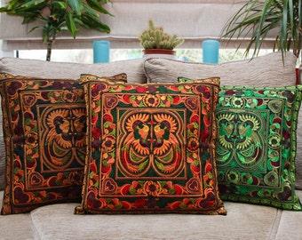 Orange embroidered cushion cover, Thai cushion, Hmong hilltribe, bohemian cushion, boho cushion, colourful cushion, throw pillow
