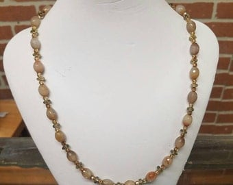 Agate Necklace with Smoky Quartz and Czech Glass