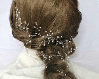 long Hair Vine jewelry crown bohemian  bridal Crystal wreath Pearl crystal twig bridal headband wedding vine pearl headpiece Crystal garland