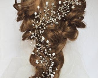 Rose gold wedding hair vine for long hair Crystal garland headpiece  crystal wreath Wreaths Tiaras twigs bridal headband wedding pearl vine