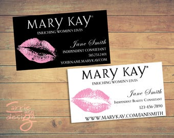 Mary Kay Business Cards printable pink custom make-up