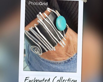 Enchanted Turquoise Collection-Ladies Fashion-Leather Cuff-Boho-Surf Jewelry-Gifts For Her-Valentines Day Gifts-Handmade