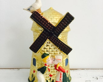 Vintage Dutch Windmill Kissing Couple