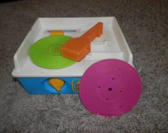 fisher price music box record player vintage with 2 discs 1987