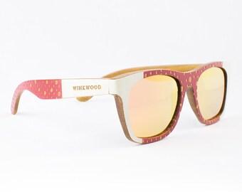 Wood Sunglasses, Polarized Sunglasses, Wooden Sunglasses, Wood Eyewear, Handmade Sunglasses, Red Sunglasses, Unique Sunglasses by WINKWOOD