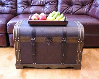 Victorian Steamer Trunk Wood Storage Wooden Treasure Chest