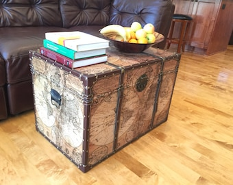 Ancient World Map Steamer Trunk Wood Storage Wooden Treasure Chest