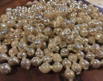 Lot of 144 Vintage Mercury Milk and Silver Colored Glass Double Beads