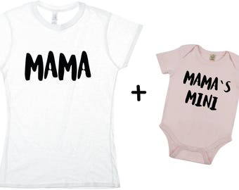 Mama and mamas mini  couple shirt and body - daughter,mom,gift,birthday,mother shirt, gift,happy ,baby,kids,daughter,wife,print,best,mom