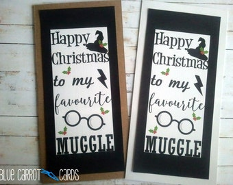 Harry Potter Christmas Card, Muggle Card, Hogwarts Card, DL67
