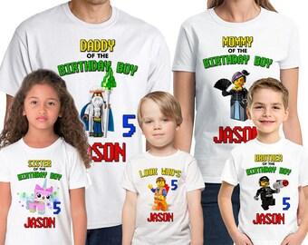 The Lego Movie Birthday Shirt Add Name & Age Lego Family Custom Birthday Party TShirt 01