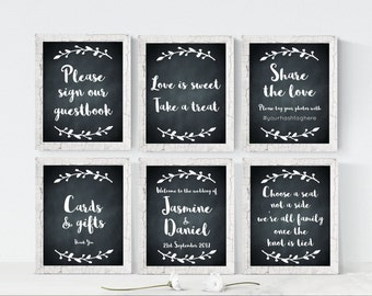 PERSONALISED wedding signs, set of 6 wedding signs, wedding sign bundle, chalkboard wedding signs, welcome wedding sign, sign our guestbook