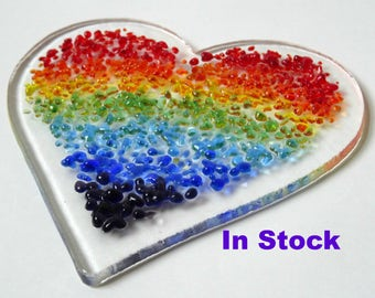 Rainbow fused glass heart, heart light catcher, window decoration, wedding gift, love valentine gift for her, stained glass art, home decor