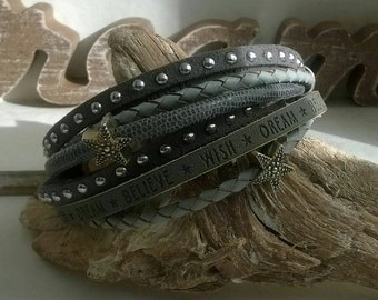 Wrap bracelet leather grey star