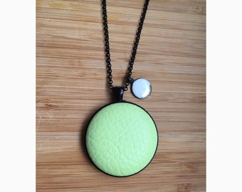 Light Green Leatherette Pendant Necklace • Black • 76cm Rolo Chain with 38mm Fabric Button • Lobster Clasp • White Resin Charm