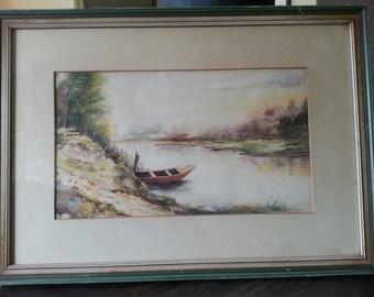 River Landscape-Vintage Original Watercolor Painting